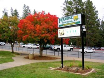 Front of PHS with tree with red leaves and PHS sign